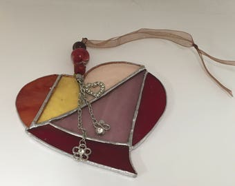 Glass Heart hanger reds and yellows