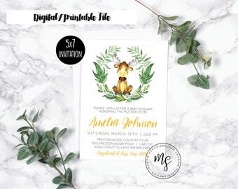 Baby Shower Invitation   Woodland Friends Animals   Baby Moose   Gender Neutral   Boy Girl   Printable/Digital