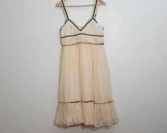Silk Cream Dress / Boho dress / Airy Dress / angel Dress / Spaghetti strap / Prairie Dress / Anthropologie