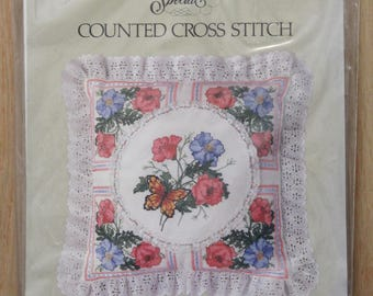 Candamar Designs Counted Cross Stitch Pink  Blue Poppy Pillow 50128 NIP USA Made