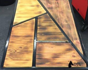 Industrial wood & metal coffee table