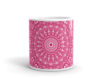 Pink Mug, Decorative Coffee Mug, Hand Printed Cup for Coffee or Tea, All Occasion Gift