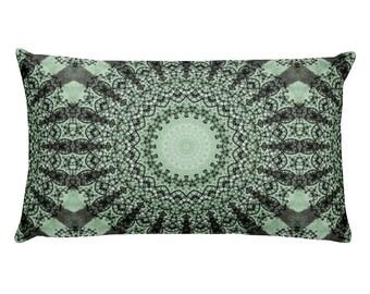 Throw Pillows in Green, Decorative Pillows, 20x12 Lumbar Pillow, Green Mandala Design Cushion