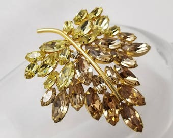 KRAMER Yellow And Brown Colored Rhinestone Leaf Pin