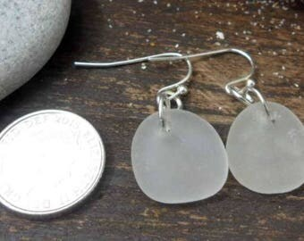 Gorgeous White Sea Glass Earrings (for pierced or non-pierced ears)