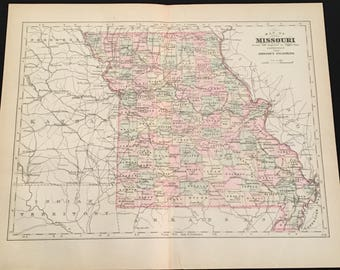 Vintage Missouri Map Etsy - Map of missiouri