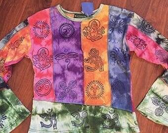 Hippie Hand Drawn Tie dye Shirt