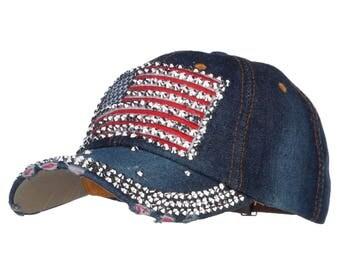 American Flag Embellished Jewel Cap