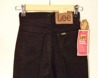 70s Lee Corduroy Deadstock NWT Pants// High waist mom black cords United Garment Workers America// Girls 22 W misses juniors 4 6 - XXS 0 USA