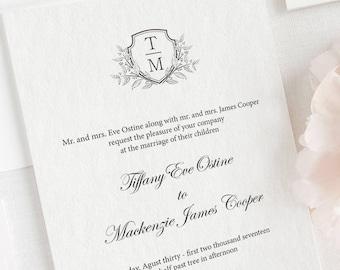 Monogram Wedding Invitation, Printable Monogram Wedding Invitation, Invitation suite, Invitation set, Classic Invitation, Black and White