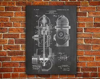 Firefighter Canvas painting, Fire Hydrant Patent, Firefighter Art Gift, Firefighter Wall Art, Fireman Art Gift, Firefighter Art, Art