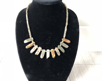 Polished stone jewelry set