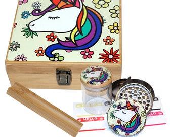 "Large Size Geometry Stash Box, 2.5"" Zinc Alloy Grinder,  Stash Jar, 6"" Rolling Tray - ALL IN ONE Box Package - Unicorn Design #LBCS020818-11"