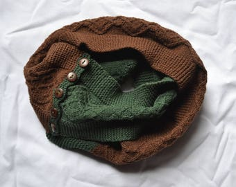 Brown and Green Cabled Mini Scarf