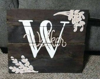 Family name personalized sign, custom family name wood sign, wedding shower gift, initial sign, housewarming gift, last name home decor