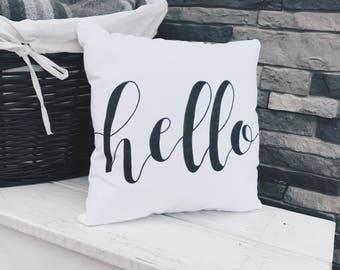 Hello   Pillow   Calligraphy   Handmade   Home Decor   Bedding