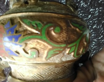 Antique Brass Cloisonne Asian incense burner with foo dogs and elephants#LC/mm