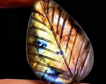 Natural Labradorite Carving Cabochon Pear Shape Full Flashy Fire Super Sparkle Size 36X25X7 MM Weight 51.70 Carat Approx Aaa Quality  3180
