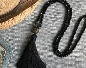 Black Tassel Necklace, Silver tassel,Beaded Necklace,Black Necklace,Tassel,Long necklace