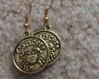 "Gold charm earrings, ""cancer"""