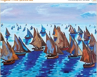 "SALE Claude Monet Fishing Boats Calm Seas Coastal Seascape Art Print By Scott D Van Osdol 16x20"" Poster Of My Original Colorful Ready To Fra"