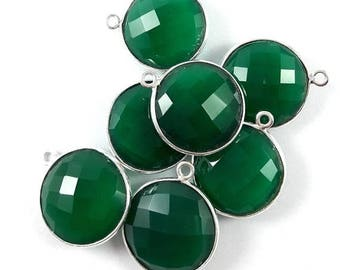 SUMMER SALE 4 Pieces Green Onyx 925 Sterling Silver Plated Bezel Double Bail Bezel Connector 19mm x 14mm #NGS69+70