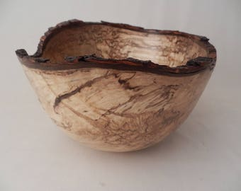 Large Wooden Natural Edge Bowl Heavily Spalted Maple Handmade