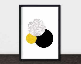 Circle Print, Circle Wall Art, Circle Art, Geometric Print, Scandinavian Print, Black and Gold Wall Art, Black and Gold Art, Black Modern
