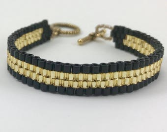 Black and Gold Peyote Stitch Glass Beaded Cuff Bracelet