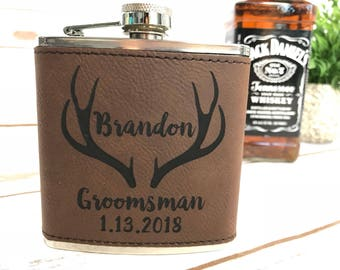 Leather Groomsmen Gift, Personalized Engraved Deer Groomsman Flask, Personalized Groomsman Flask, Wedding Party Flask, Best Man Flask, Hip R