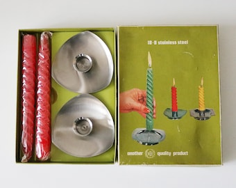 60s 70s modernist stainless steel candle set with 2 holders and 2 unused original candles in box