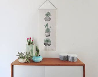 Cactus Wallhanging,  Jungalow style, Tropical , Boho,  Block Print with fringe, Home Decor