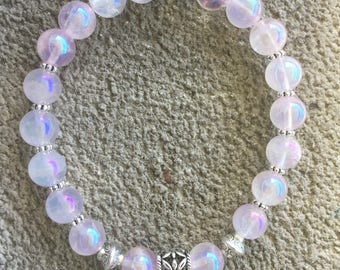 "Please ""Archangel Camael"" energized Bracelet, well-being, Crystal angel / pink iridescent, and guardian angel"