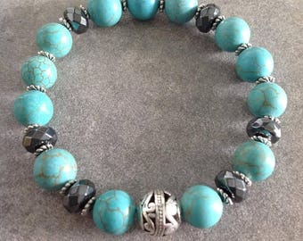Please Bracelet energized well-being and help minceurॐ blue turquoise magnesite 10mm hematite rondelle and silver carved bead