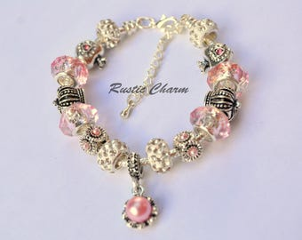 Silver Plated Pink Pearl, Hearts and Crowns European Style Charm Bracelet