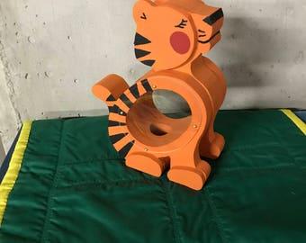 Tiger wooden piggy bank