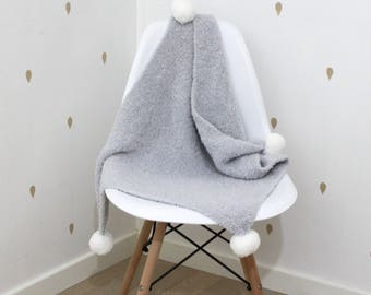 Hand knitted knitted handmade baby blanket grey - 4 tassels 25% wool super soft baby - 3 colors available-