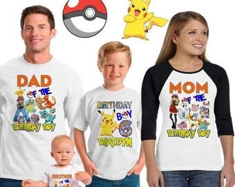 15% Off Pokemon birthday shirt /Pokemon shirt /family matching shirts/Pokemon birthday party shirt /Pokemon/ family shirts