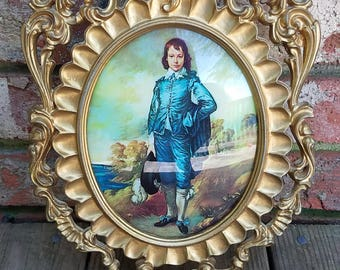 Vintage 1940's Pinkie and Blue Boy Antique Gold Frame Made in Italy on Each Frame Very Nice Condition