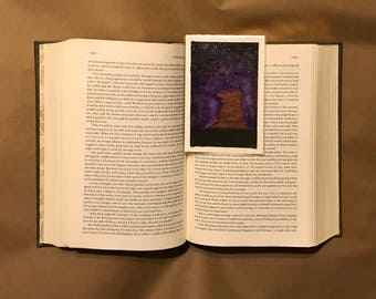 Original Handpainted Bookmark Purple Night Sky Watercolor Painting on Watercolor Paper - Laminated