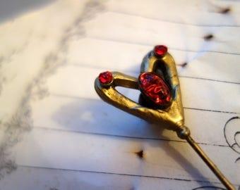Extra Long vintage Hatpin heart