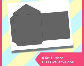 "Cd envelope, Dvd envelope Template PSD, PNG and SVG, Dxf Formats,  8.5x11"" sheet,  Printable 204"