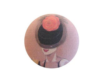 1 fabric button x 28mm Flower hat woman orange BOUT13