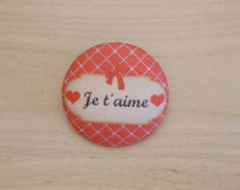 x 1 22mm fabric button I love you more A38
