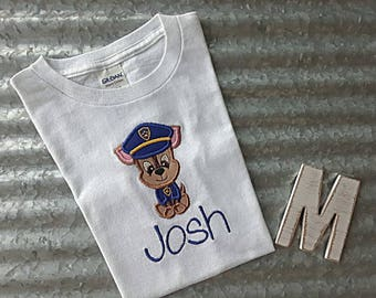 Chase paw patrol character shirt with name