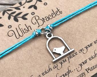 Bird Wish Bracelet, Make a Wish Bracelet, Bird on Perch Bracelet, Wish Bracelet, Friendship Bracelet, Bird Jewelry, Stocking Stuffer