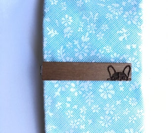 French Bulldog Tie Clip - wood tie clip - tie clip - french bulldog - gifts for him - Anniversary gift - wood gifts