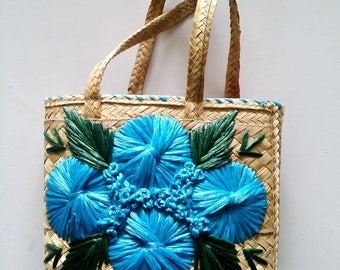Hand-Embroidered Floral Straw Bucket Bag / Woven Bag / Woven Raffia Purse / Straw Bucket Bag / Caribbean Souvenir Bag / Lined Straw Tote