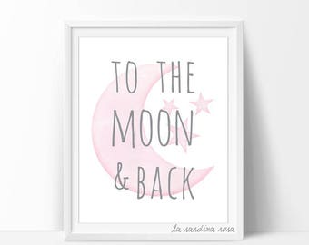 Pink Moon Nursery wall art, Baby girl room decor, pink and grey, Stars Nursery printable, To the moon and back Moon and stars nursery #0001P