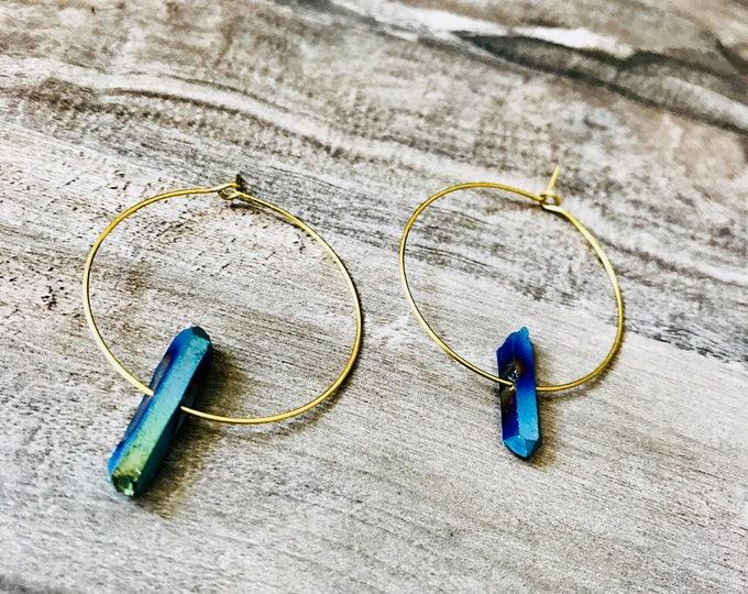 Raw Blue Aura Quartz Brass Hoops